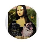 Mona's 2 Pugs Ornament (Round)