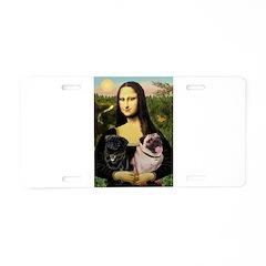 Mona's 2 Pugs Aluminum License Plate