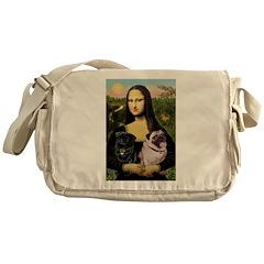 Mona's 2 Pugs Messenger Bag