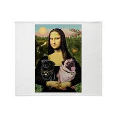 Mona's 2 Pugs Throw Blanket