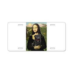 Mona's Black Pug Aluminum License Plate