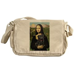 Mona's Black Pug Messenger Bag