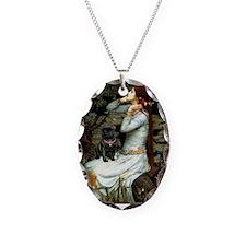 Ophelia (2) & Black Pug Necklace Oval Charm