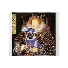 Queen-Sir Pug (17) Throw Blanket