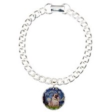 Starry Night and Pug Charm Bracelet, One Charm