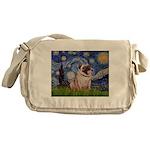 Starry Night and Pug Messenger Bag