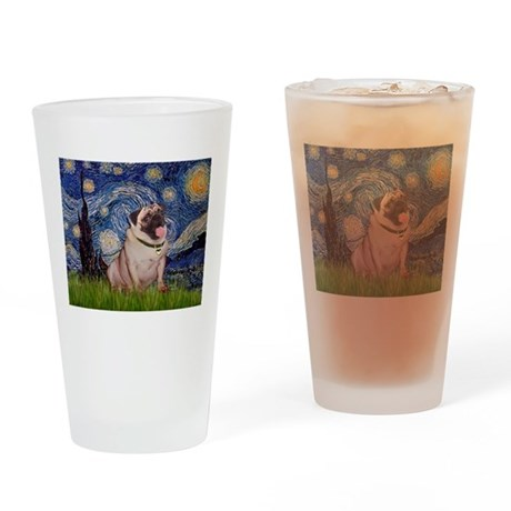 Starry Night and Pug Drinking Glass