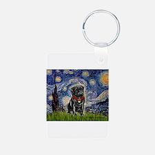 Starry Night / Black Pug Keychains