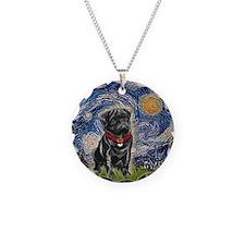 Starry Night / Black Pug Necklace