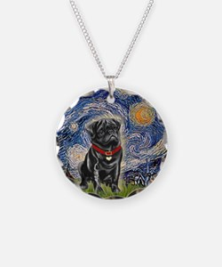 Starry Night / Black Pug Necklace