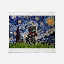 Starry Night / Black Pug Throw Blanket