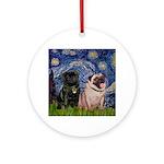Starry Night / 2 Pugs Ornament (Round)