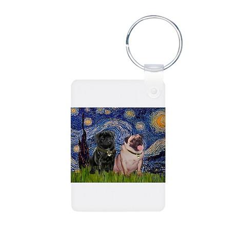 Starry Night / 2 Pugs Aluminum Photo Keychain