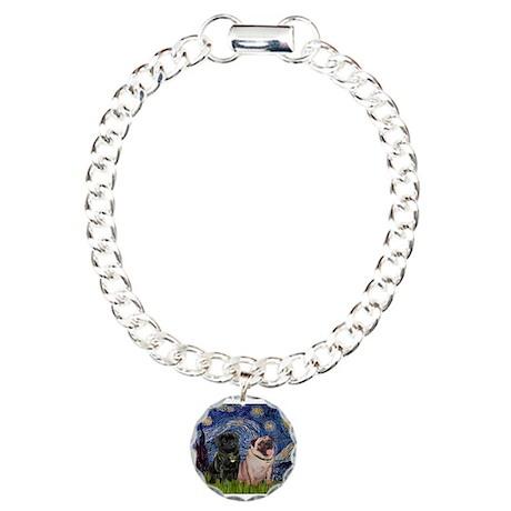 Starry Night / 2 Pugs Charm Bracelet, One Charm