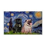 Starry Night / 2 Pugs 20x12 Wall Decal
