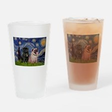 Starry Night / 2 Pugs Drinking Glass
