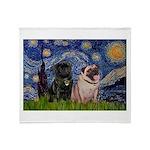 Starry Night / 2 Pugs Throw Blanket