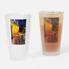 Cafe / Black Pug Drinking Glass