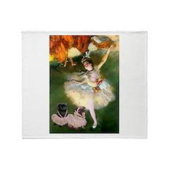 Dancer / 2 Pugs Throw Blanket