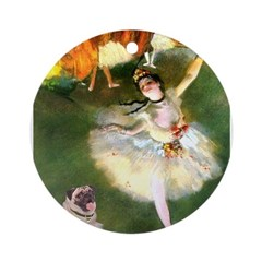 Dancer 1 & fawn Pug Ornament (Round)