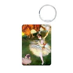 Dancer 1 & fawn Pug Aluminum Photo Keychain