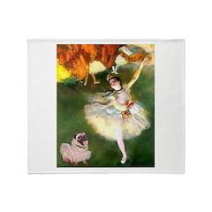 Dancer 1 & fawn Pug Throw Blanket