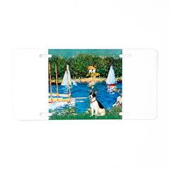 Sailboats / Rat Terrier Aluminum License Plate