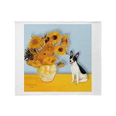 Sunflowers / Rat Terrier Throw Blanket