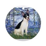 Lilies / Rat Terrier Ornament (Round)