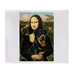 Mona Lisa/Rottweiler Throw Blanket