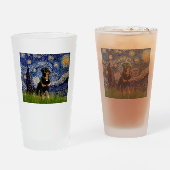 Starry Night Rottweiler Drinking Glass