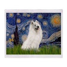 Starry / Samoyed Throw Blanket