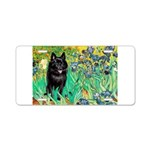 Irises / Schipperke #2 Aluminum License Plate