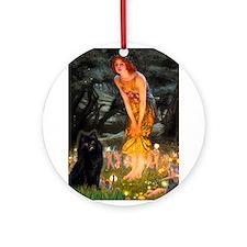 Fairies & Schipperke Ornament (Round)