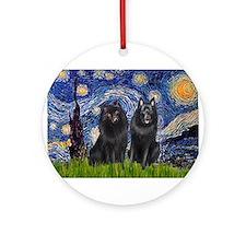 Starry Night & Schipperke Ornament (Round)
