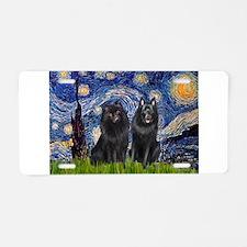 Starry Night & Schipperke Aluminum License Plate