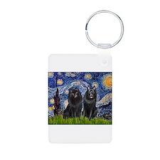 Starry Night & Schipperke Keychains