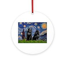 Starry / Schipperke Pair Ornament (Round)