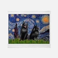 Starry / Schipperke Pair Throw Blanket