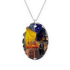 Cafe & Schipperke Necklace Oval Charm