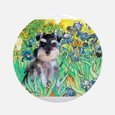 Irises / Miniature Schnauzer Ornament (Round)