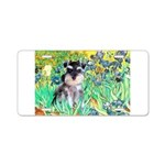 Irises / Miniature Schnauzer Aluminum License Plat