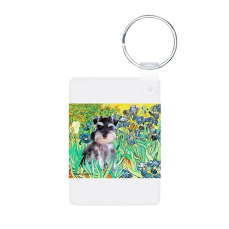 Irises / Miniature Schnauzer Aluminum Photo Keycha