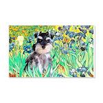 Irises / Miniature Schnauzer 20x12 Wall Decal
