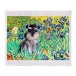 Irises / Miniature Schnauzer Throw Blanket
