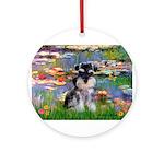 Lilies (#2)/Schnauzer Pup Ornament (Round)