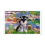 Lilies (#2)/Schnauzer Pup 20x12 Wall Decal