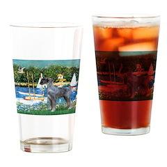 PS G. Schnauzer & Sailboats Drinking Glass