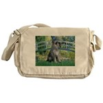 Lily Pond Bridge/Giant Schnau Messenger Bag