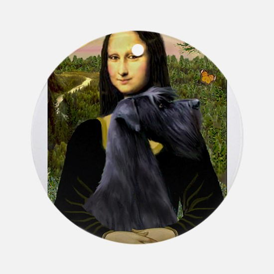 Mona Lisa /giant black Schnau Ornament (Round)